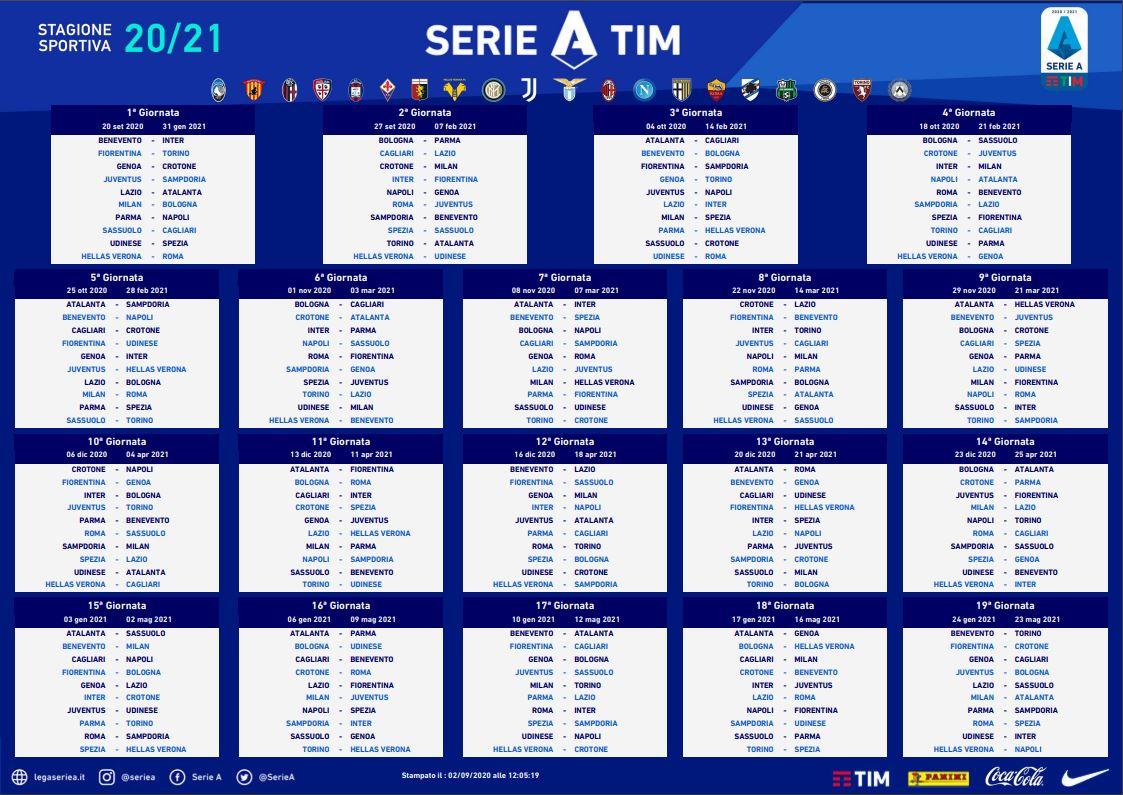 Serie A : le calendrier de la saison 2020/21 dévoilé !