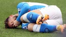 Napoli : Dries Mertens sérieusement touché à la cheville et absent au moins 3 semaines
