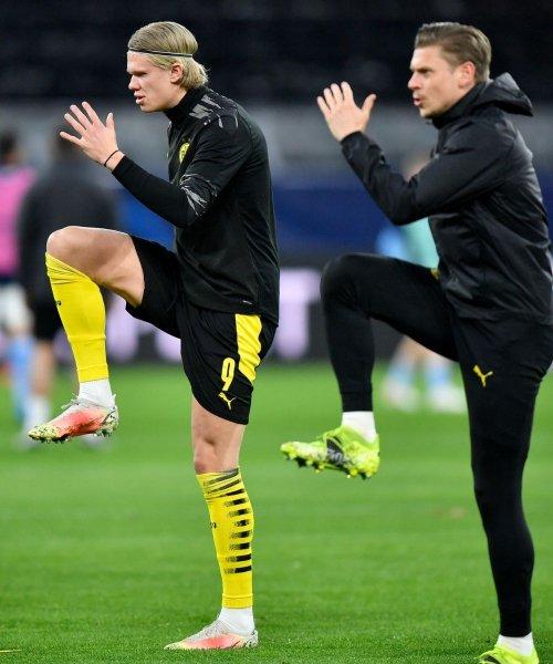 Erling Haaland à l'échauffement avec le Borussia Dortmund