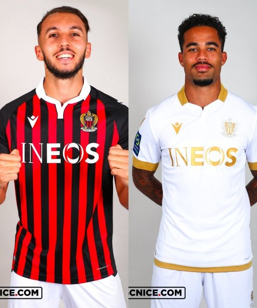 Deux des quatre maillots portés par l'OGC Nice en 2021-2022