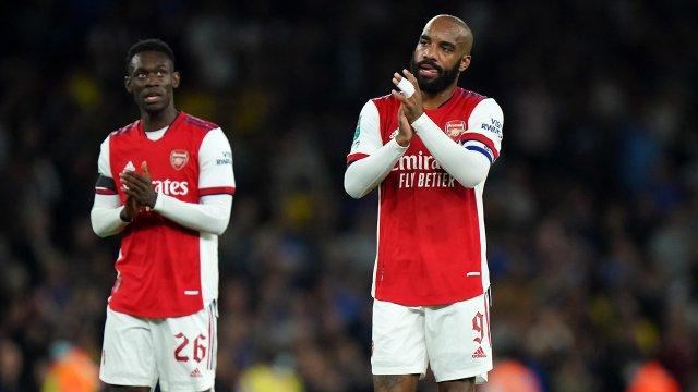 Alexandre Lacazette sous le maillot d'Arsenal lors de la saison 2021/2022