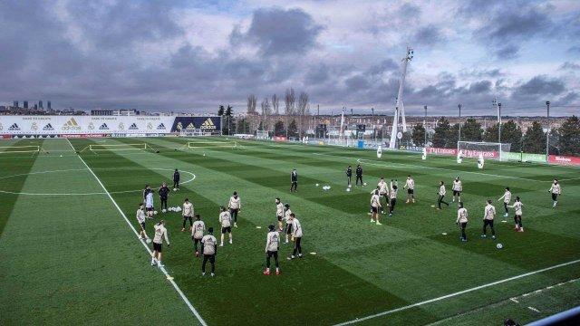 Les joueurs du Real Madrid au centre d'entraînement de Valdebebas