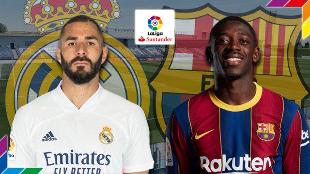 Karim Benzema (Real Madrid) et Ousmane Dembélé (FC Barcelone)
