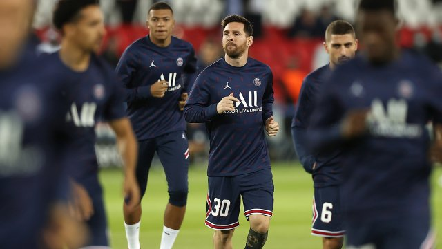 Lionel Messi à l'échauffement en Ligue des Champions