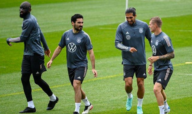 Les Allemands Rüdiger, Gündogan, Can et Kroos à l'entraînement