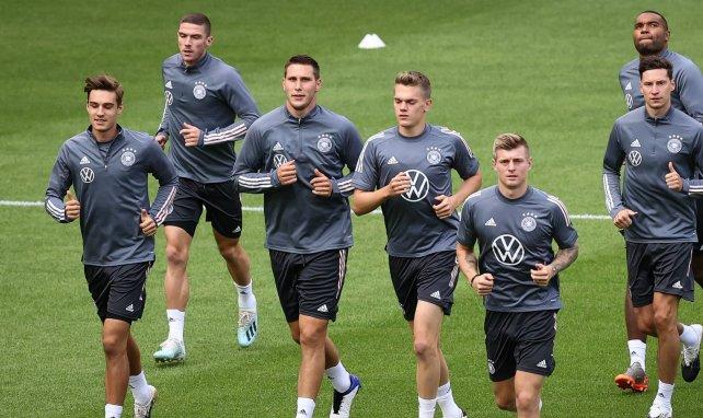 Les joueurs de la sélection allemande à l'entraînement