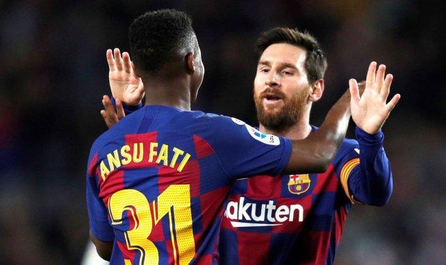 Lionel Messi aux côtés d'Ansu Fati lors de Barcelone-Levante