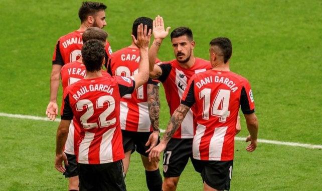 Les joueurs de l'Athletic célèbrent un but