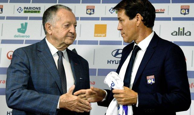 Jean-Michel Aulas et Rudi Garcia lors de la conférence de présentation du coach de l'OL