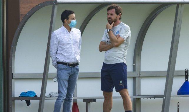 Pablo Longoria et André Villas-Boas lors d'un entraînement de l'OM