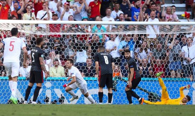 Azpilicueta lors de son but contre la Croatie avec l'Espagne à l'Euro 2020