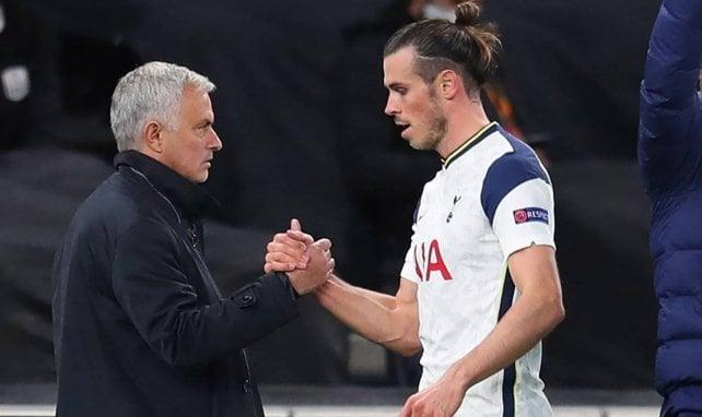 José Mourinho et Gareth Bale lors d'un match des Spurs