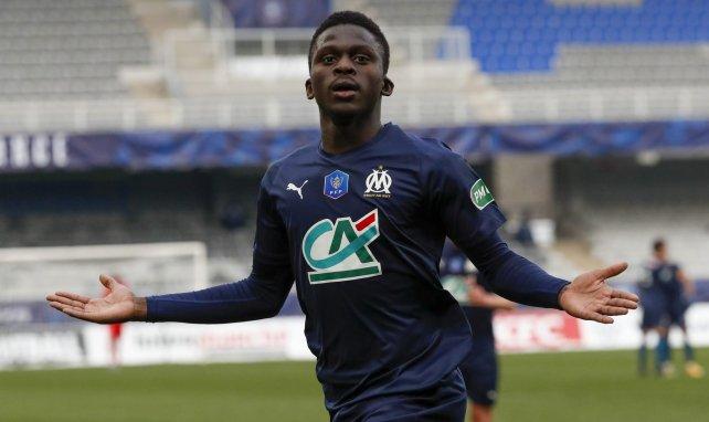 Bamba Dieng en pleine célébration après son but à Auxerre