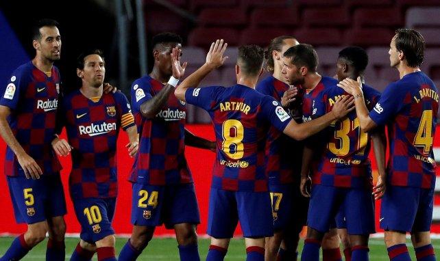 Les joueurs du Barça célèbrent l'ouverture du score contre Leganés