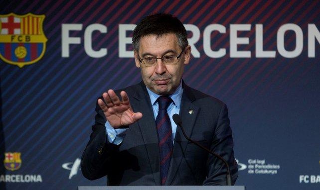 Josep Maria Bartomeu lors d'une conférence de presse à Barcelone