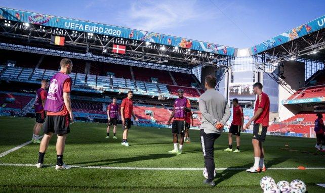 La sélection belge à l'entraînement sur la pelouse du Parken Stadium de Copenhague