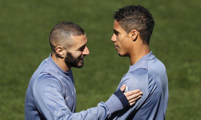 Karim Benzema et Raphaël Varane à l'entraînement avec le Real Madrid