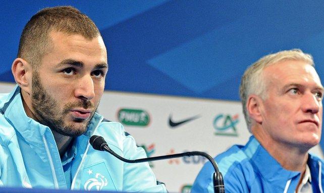 Karim Benzema et Didier Deschamps en conférence de presse