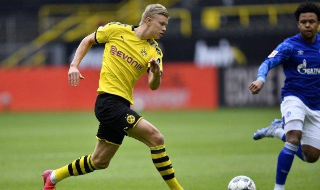 Erling Håland en action face à Schalke 04 en Bundesliga
