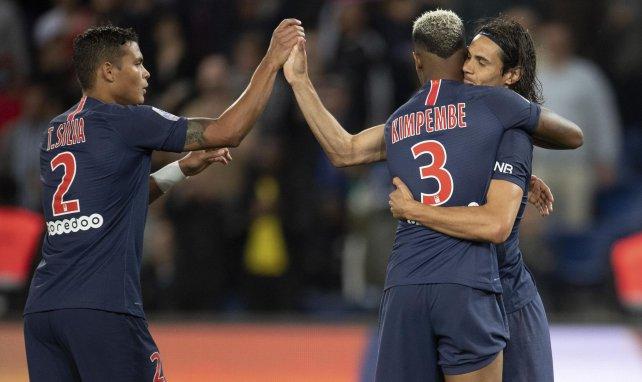 Thiago Silva, Presnel Kimpembe et Edinson Cavani sous les couleurs du PSG