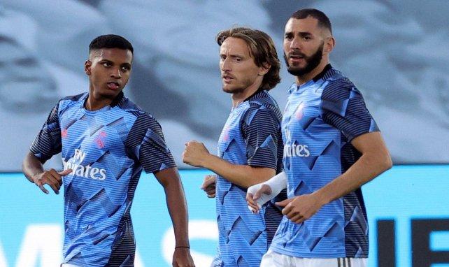 Rodrygo Goes, Luka Modric et Karim Benzema à l'entraînement au stade Alfredo Di Stefano