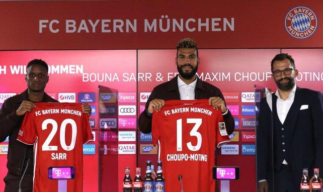 Bouna Sarr et Eric Maxim Choupo-Moting lors de leur présentation au Bayern