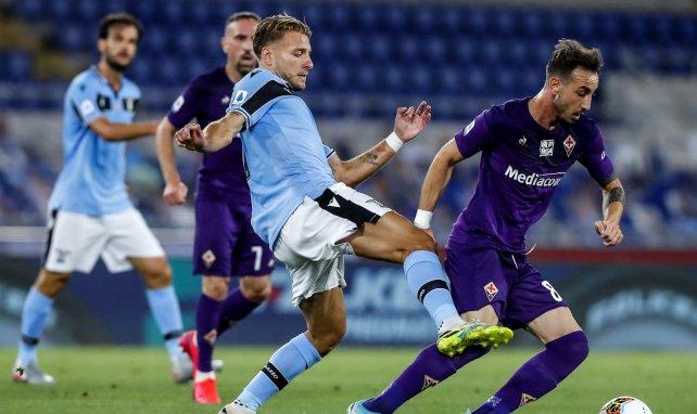 Ciro Immobile en action lors de ce Lazio-Fiorentina