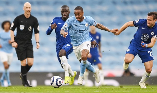 Raheem Sterling en action avec Manchester City