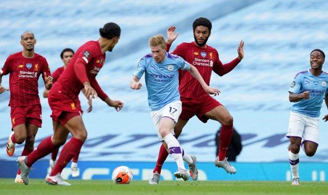 Kevin De Bruyne en action contre Liverpool