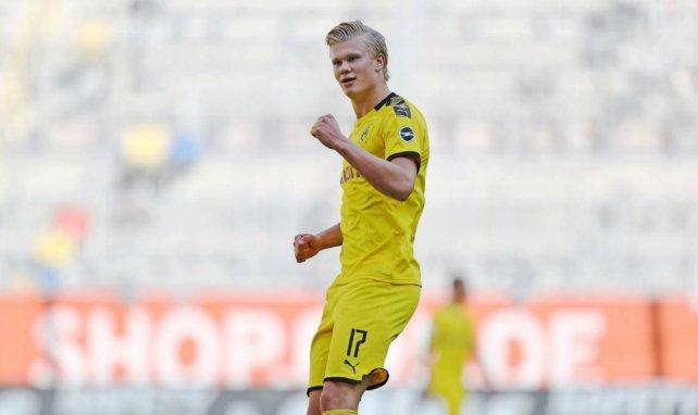 Erling Haaland célèbre un nouveau but contre le RB Leipzig