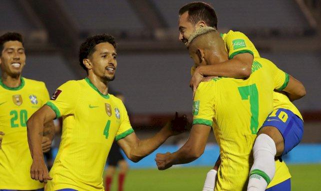 Les Brésiliens célèbrent le but de Richarlison