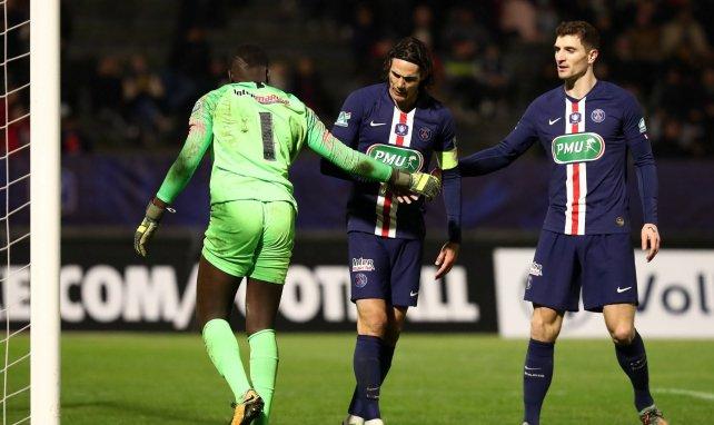 Edinson Cavani et Thomas Meunier en Coupe de France avec le PSG