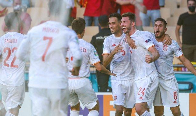 Les joueurs de la Roja célèbrent le but d'Aymeric Laporte