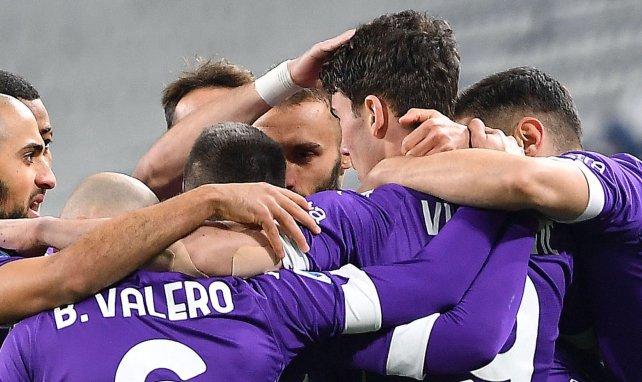 Les joueurs de la Fiorentina célèbrent un de leurs buts inscrits face à la Juventus