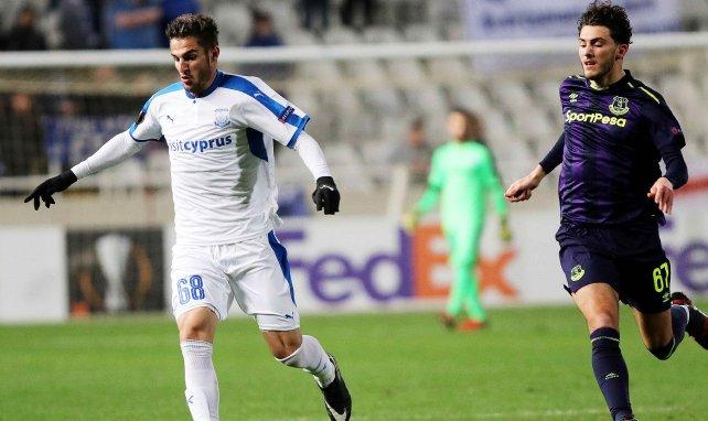 Fraser Hornby en Europa League contre l'Apollon Limassol avec Everton