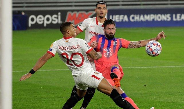 Olivier Giroud sur l'ouverture du score à Séville