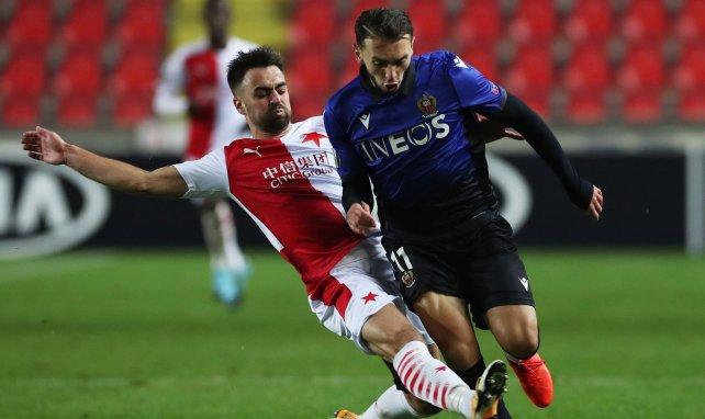 Amine Gouiri en action face au Slavia Prague