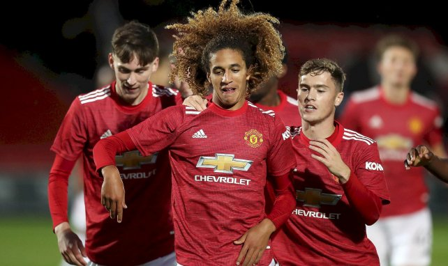 Hannibal Mejbri avec l'équipe U21 de Manchester United