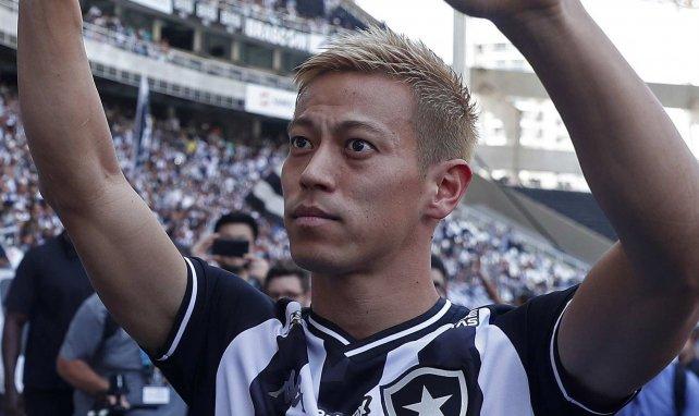 Keisuke Honda lors de son arrivée à Botafogo