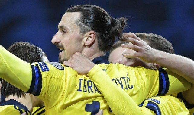 Zlatan Ibrahimovic célèbre le but suédois contre la Géorgie