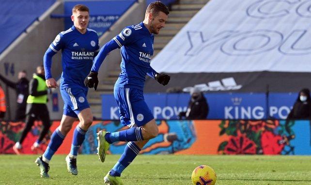 Jamie Vardy avec le maillot de Leicester