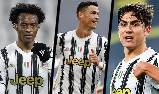 Juan Cuadrado, Cristiano Ronaldo et Paulo Dybala avec la Juventus