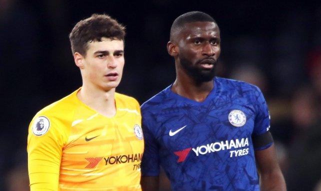 Kepa Arrizabalaga et Antonio Rüdiger coéquipiers lors de Tottenham-Chelsea en 2019
