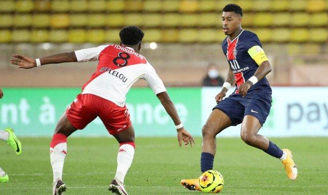 Presnel Kimpembe avec le PSG contre l'AS Monaco, au Stade Louis-II