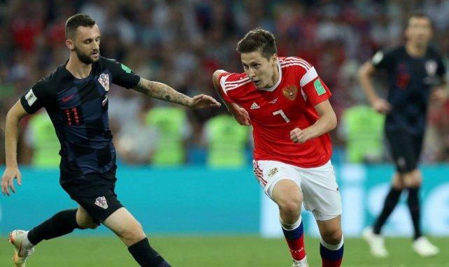 Daler Kuzyaev en quart de finale de la Coupe du monde avec la Russie contre la Croatie