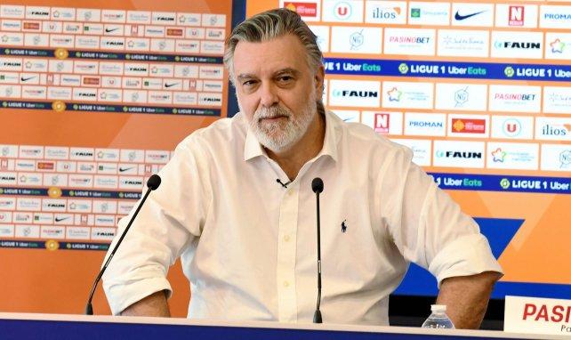 Laurent Nicollin lors d'une conférence de presse du MHSC