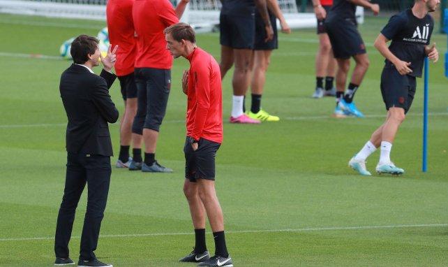 Leonardo et Thomas Tuchel lors d'un entraînement du PSG