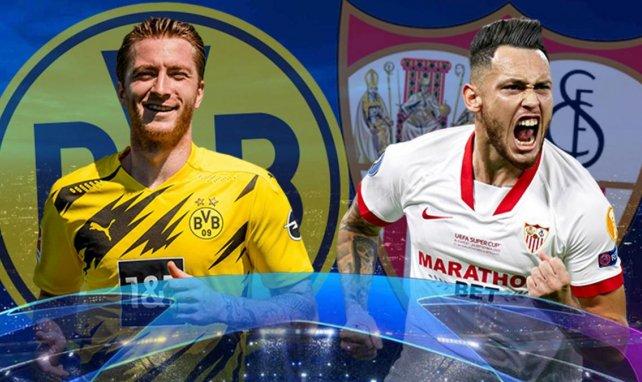 Marco Reus (Borussia Dortmund) et Lucas Ocampos (Séville FC)
