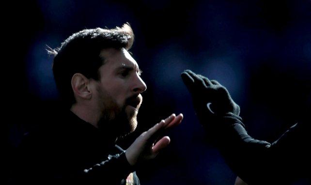Lionel Messi lors d'un entraînement avec le Barça