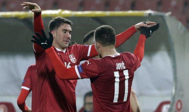 Luka Jovic et Dusan Vlahovic lors de la rencontre entre la Serbie et la Russie